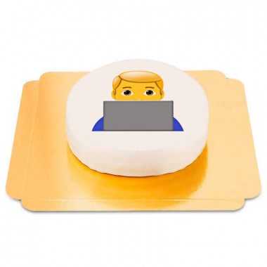 Tort Emoji- chłopiec prz komputerze