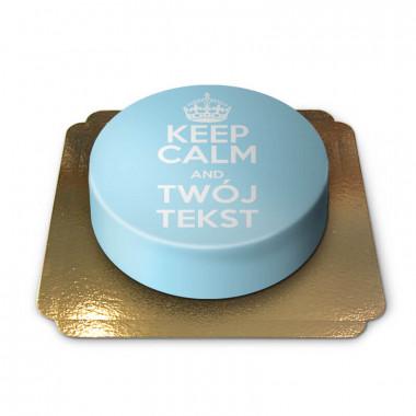 """Keep Calm and..""-Tort, niebieski"