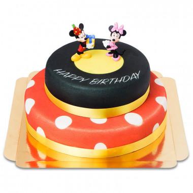 Myszka Mickey i Minnie na dwupiętrowym torcie urodzinowym