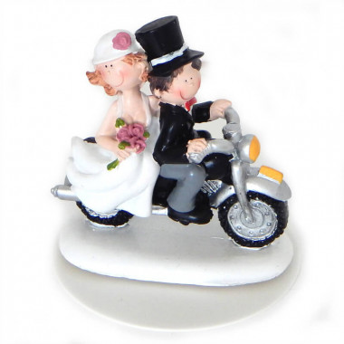 Figurka na tort - Para Młoda na motorze