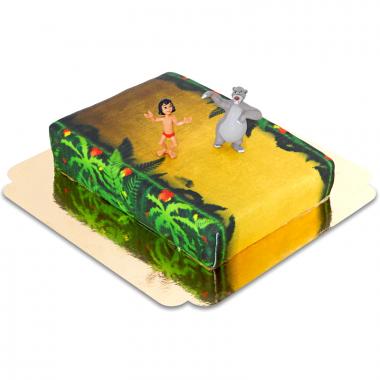 Mowgli i Baloo na torcie w dżungli