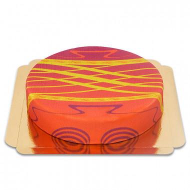 Czerwony tort ze złotym splotem