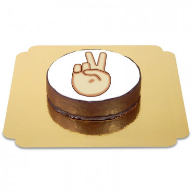 Tort czekoladowy z emotikonką peace