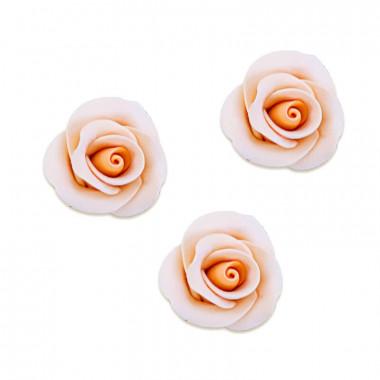 Cukrowa róża w kolorze brzoskwiniowym , około 28 mm (3 sztuka)