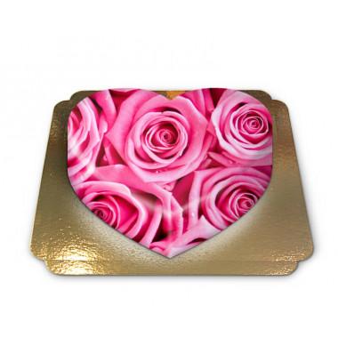 Tort w kształcie serca, tło w różowe róże