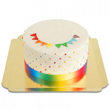 """Tęczowy tort deluxe """"Happy Birthday"""" - podwójna wysokość"""