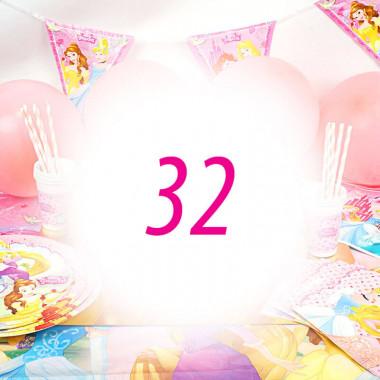 Partyset Księżniczki - zestaw dla 32 dzieci - dekoracja, bez tortu