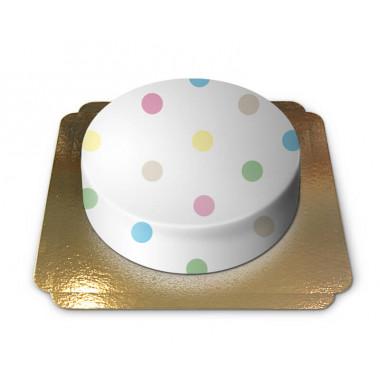 Biały tort w pastelowe kropki