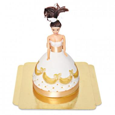 Tort Deluxe z lalką w złotej sukience