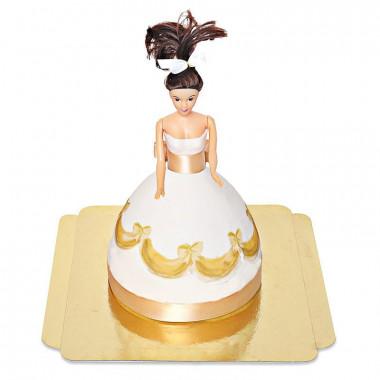 Tort z lalką w złotej sukience