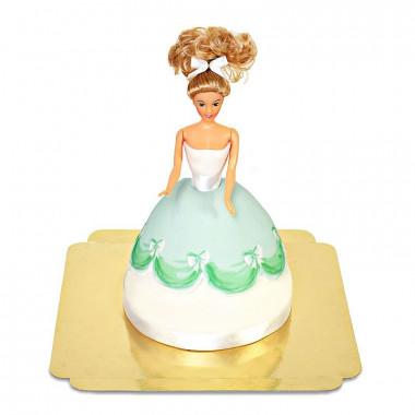 Tort z lalką w zielonej sukience