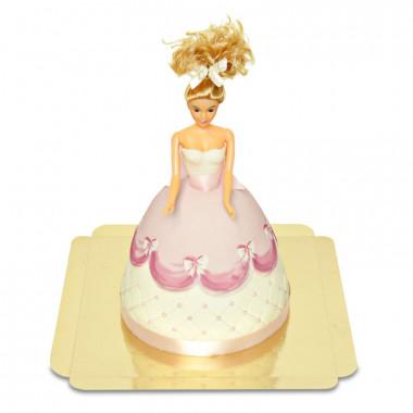 Deluxe - Tort z lalką w różowej sukience