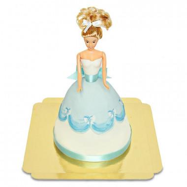 Tort z lalką w niebieskiej sukience