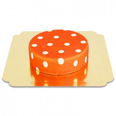 Czerwony tort w białe kropki