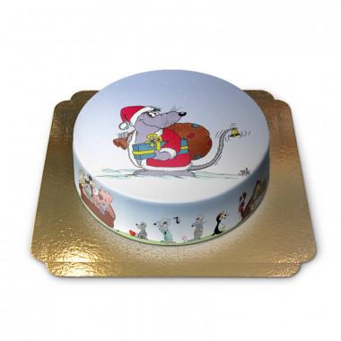 Tort ze świąteczną myszą