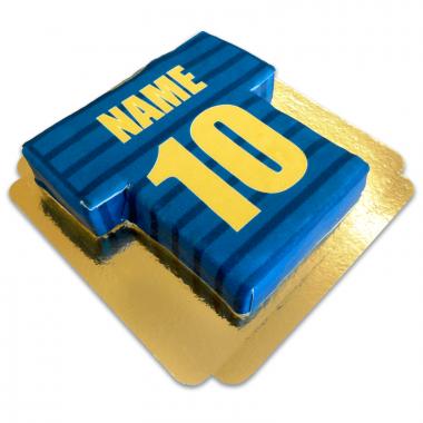 Tort koszulka piłkarska, złoto-niebieska