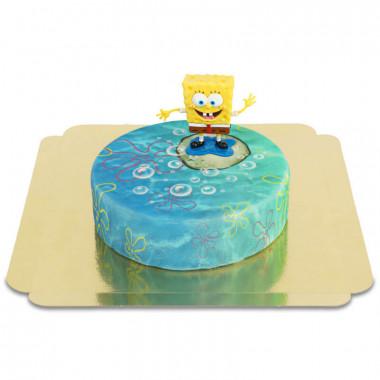 Spongebob na okrągłym podwodnym torcie