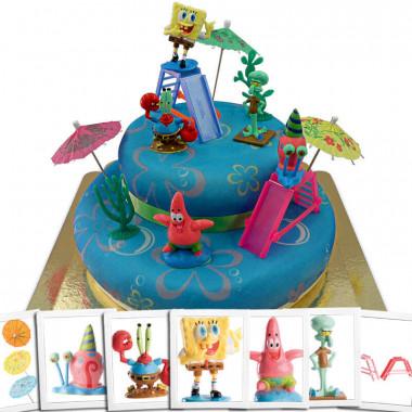 SpongeBob Kanciastoporty na dwupiętrowym torcie morskim ze wstążeczką