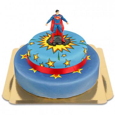 Superman na dwupiętrowym komiksowym torcie