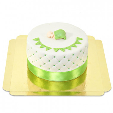 Zielony torcik baby shower