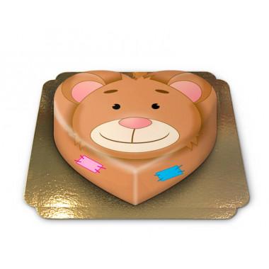Tort w kształcie serca - miś