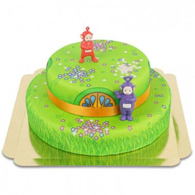 Dwupiętrowy tort Teletubisie z figurkami