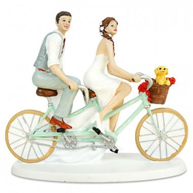 Figurka tortowa Para Młoda na rowerze