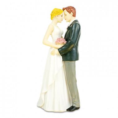 Figurka na tort - Obejmująca się para młoda