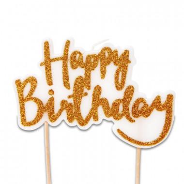 Świeczka na tort, Happy Birthday złota