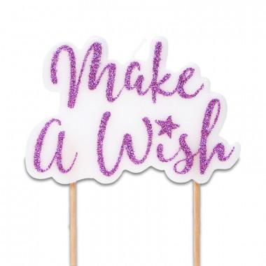 Świeczka na tort, Make a wish różowa