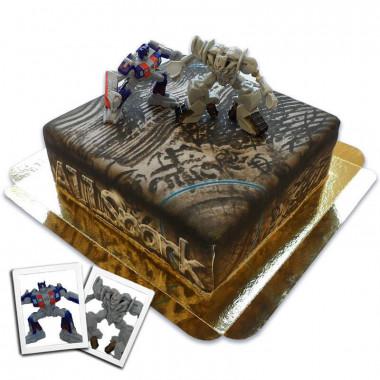 Tort Transformers z figurkami - Oprimus Prime i Megtatron