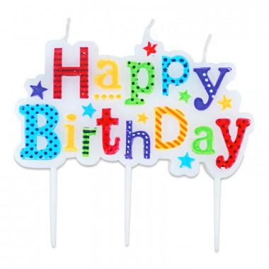 """Kolorowa świeczka """"Happy Birthday"""""""