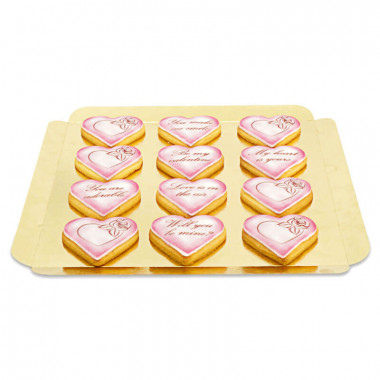 Ciasteczka walentynkowe z miłosnym przesłaniem - różowe (12 szt.)