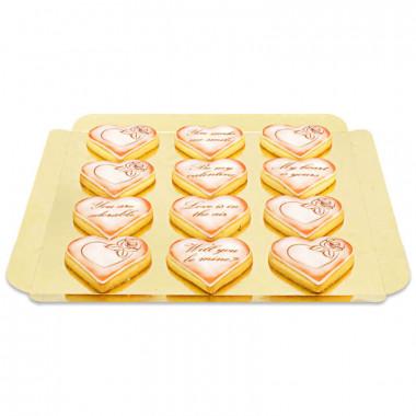 Ciasteczka walentynkowe z miłosną wiadomością - czerwone (12 sztuk)