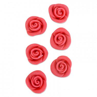 Marcepanowa róża w kolorze czerwonym , około 25 mm (6 sztuk)