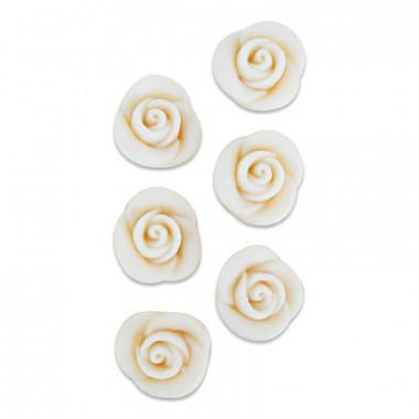 Marcepanowe róże w kolorze białym, około 25 mm (6 sztuk)