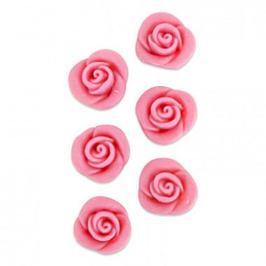 Marcepanowa róża w kolorze różowym , około 25 mm (6 sztuk)