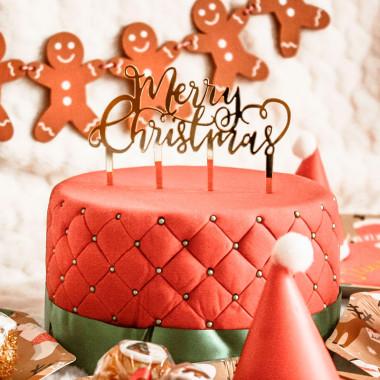 """Tort Bożonarodzeniowy  Deluxe - wraz z  topperem """"Merry Christmas"""""""