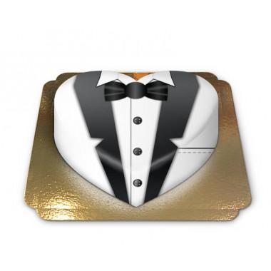 Tort w formie serca - biały garnitur