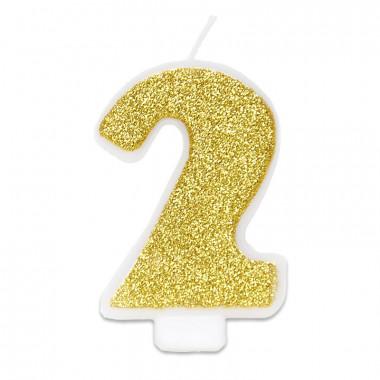Złota świeczka w kształcie cyfry 2, ok. 6 cm