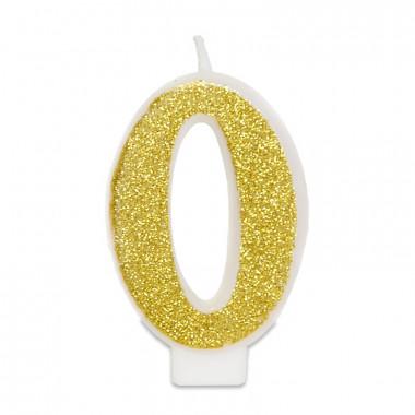 Złota świeczka w kształcie cyfry 0, ok. 6 cm