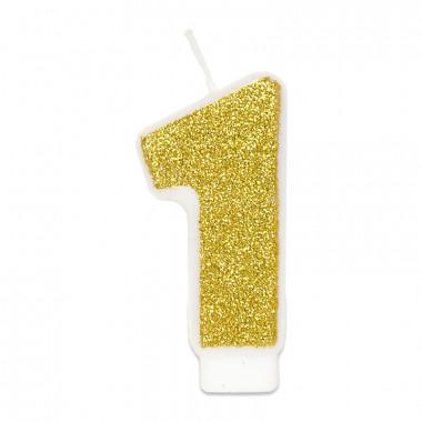 Złota świeczka w kształcie cyfry 1, ok. 6 cm