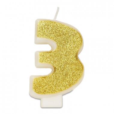 Złota świeczka w kształcie cyfry 3, ok. 6 cm