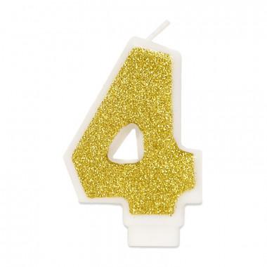 Złota świeczka w kształcie cyfry 4, ok. 6 cm