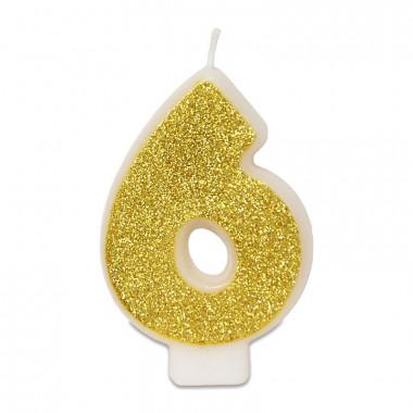 Złota świeczka w kształcie cyfry 6, ok. 6 cm