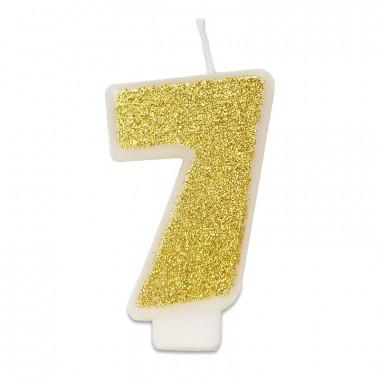 Złota świeczka w kształcie cyfry 7, ok. 6 cm