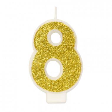 Złota świeczka w kształcie cyfry 8, ok. 6 cm