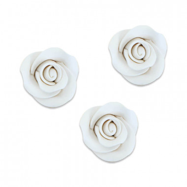 Cukrowa róża w kolorze białym , około 28 mm (3 sztuka)
