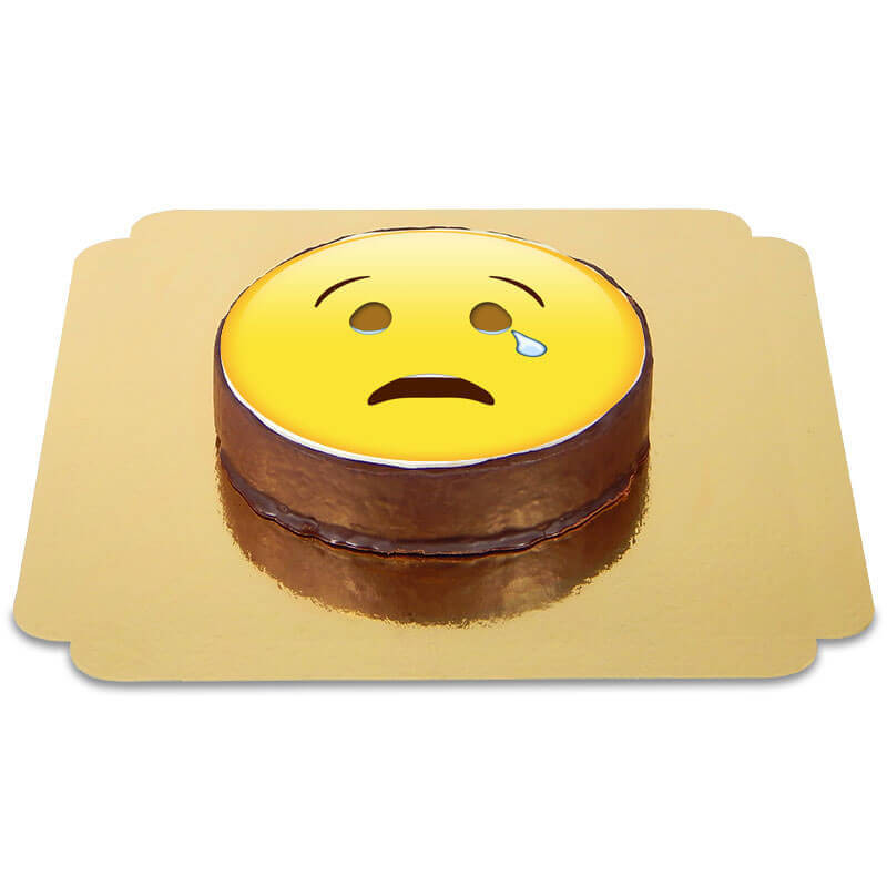 Tort czekoladowy z płaczącą emotikonką