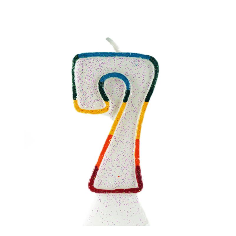 Bunte Tortenkerze mit Zahl 7